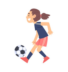 cute girl playing soccer kid doing sports vector image