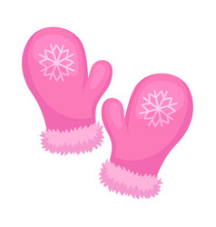 Cute pink mittens on a white vector