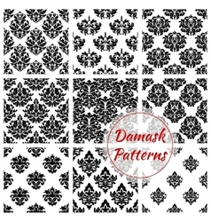 Damask floral ornate seamless patterns set vector