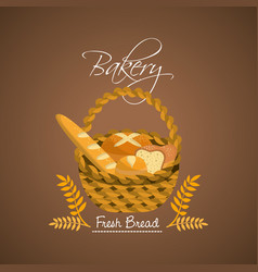 Delicious differents bread inside the basket vector