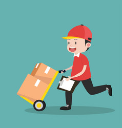 deliveryman with delivery cart vector image