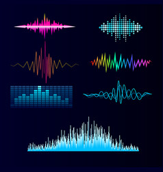 Digital music equalizer audio waves design vector