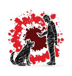 Dog training a man training a vector