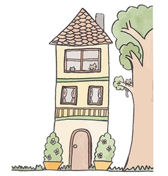 Doodle of 3-storey house vector
