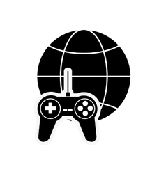 Earth globe diagram and game controller icon vector