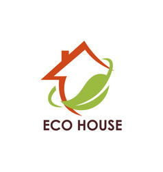 ecology leaf house logo vector image