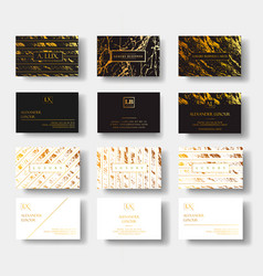 elegant black and white luxury business cards set vector image