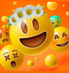 Emoticons with flower on head group emoji vector