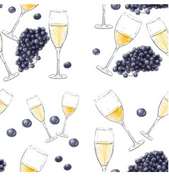 festive seamless pattern with wine glasses vector image