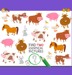 Find two identical farm animals educational game vector