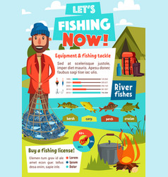 Fishing infographics with fisherman tackle chart vector