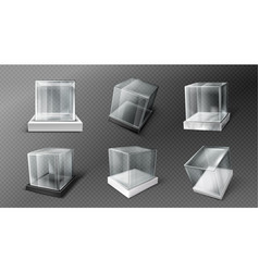 Glass cube boxes clear acrylic showcases vector