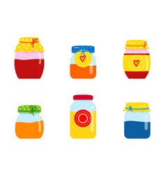 Glass jar with homemade jam fruit orange red vector