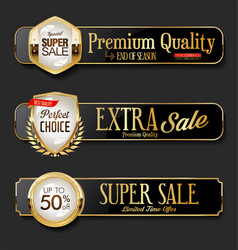 Gold and black sale labels collection on black vector
