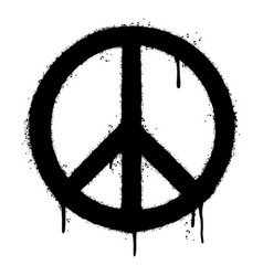 Graffiti peace symbol sprayed isolated on white vector