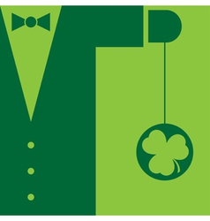 Green suit with bow tie and yo yo shamrock vector