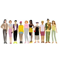 Group young people school and student age vector