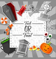halloween sticker with orange background vector image