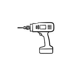 hammer drill hand drawn sketch icon vector image