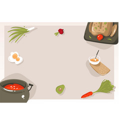 Hand drawn abstract modern cartoon cooking vector