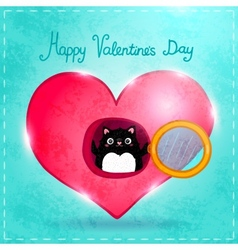 Happy Valentines Day card with cat vector image