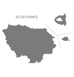 Ile-de-france france map grey vector