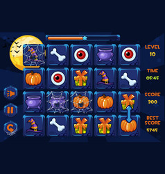 interface match3 games icons and buttons vector image