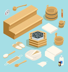 isometric room with traditional sauna accessories vector image