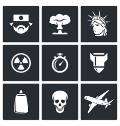 Japan and nuclear weapons icons vector