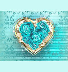 Jewelry heart with turquoise roses vector