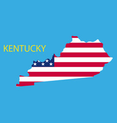 Kentucky state of america with map flag print vector