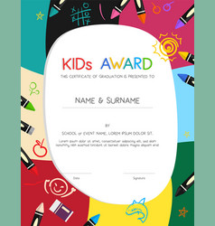 kids diploma or certificate template with vector image