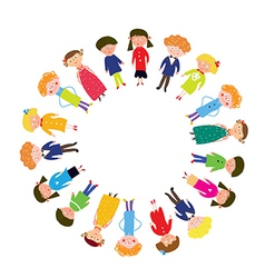 Kids in the circle funny vector image