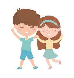 kids zone little boy and girl happy celebrating vector image