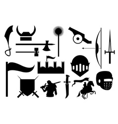 Knight war icons set vector image