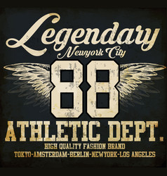 Legendary athletic dept nyc varsity sport print vector