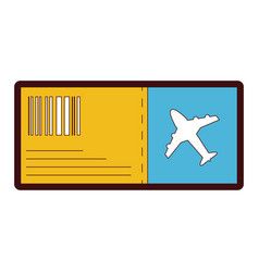 line color airplane ticket travel to vacation vector image