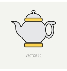 Line flat color kitchenware icons - teapot vector image