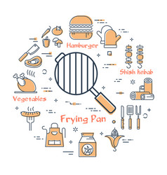 Linear round concept of grill frying pan vector