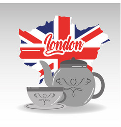 london map porcelain teapot and cup of tea with vector image