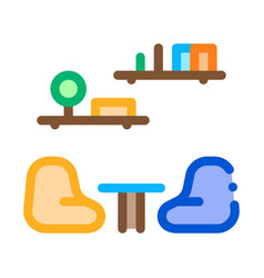 lounge with chairs icon outline vector image