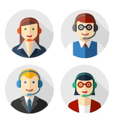 Male and female call center avatars vector image