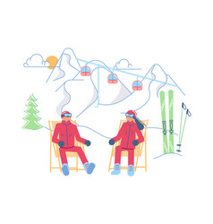 male and female skiers on a lounger relaxes vector image