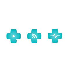 Medical cross logo set telemedicine icon vector