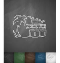 Miami Beach icon Hand drawn vector image