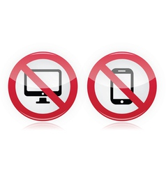 No computer mobile or cell phone sign vector