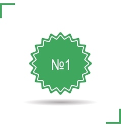 Number one badge icon vector