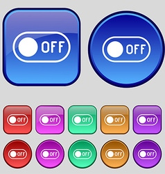 Off icon sign A set of twelve vintage buttons for vector