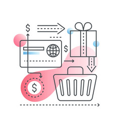 online shopping concept in trendy line with vector image