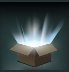 open cardboard box with a glow inside vector image